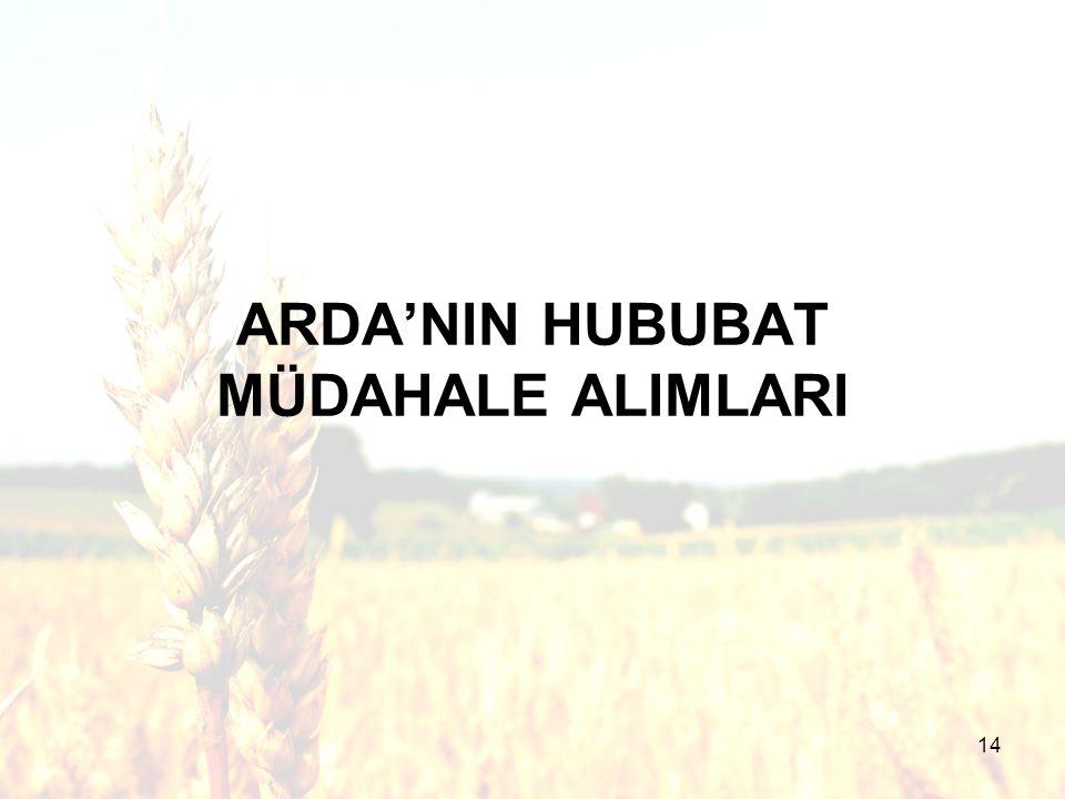 14 ARDA'NIN HUBUBAT MÜDAHALE ALIMLARI