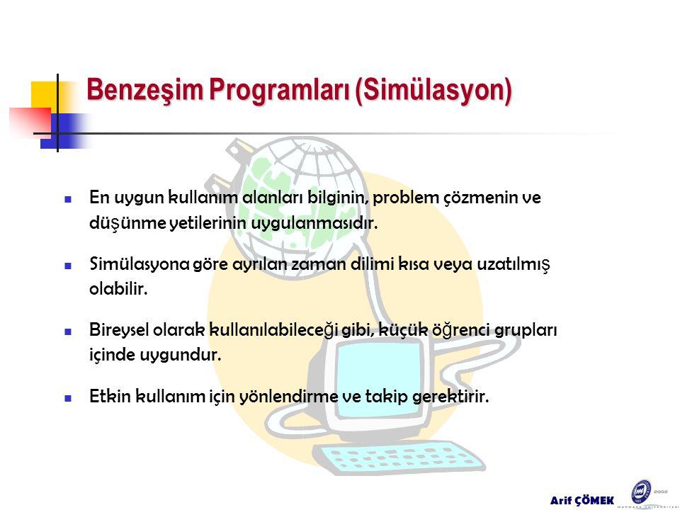 Arif ÇÖMEK Benzeşim Programları (Simülasyon) En uygun kullanım alanları bilginin, problem çözmenin ve dü ş ünme yetilerinin uygulanmasıdır. Simülasyon