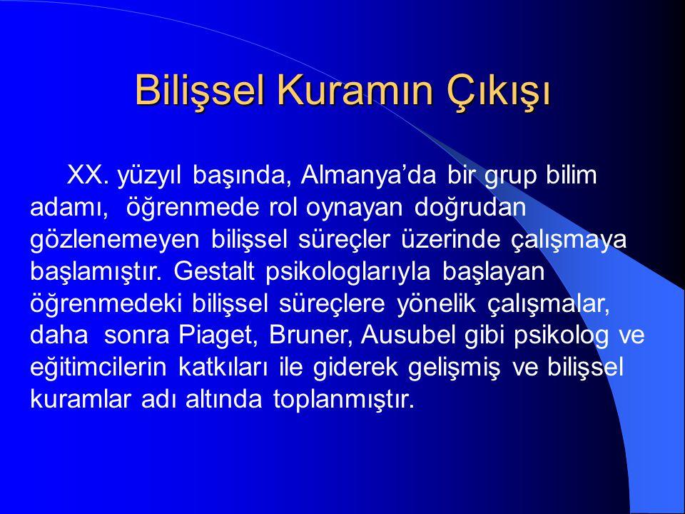 Bilişsel Kuramın Çıkışı XX.