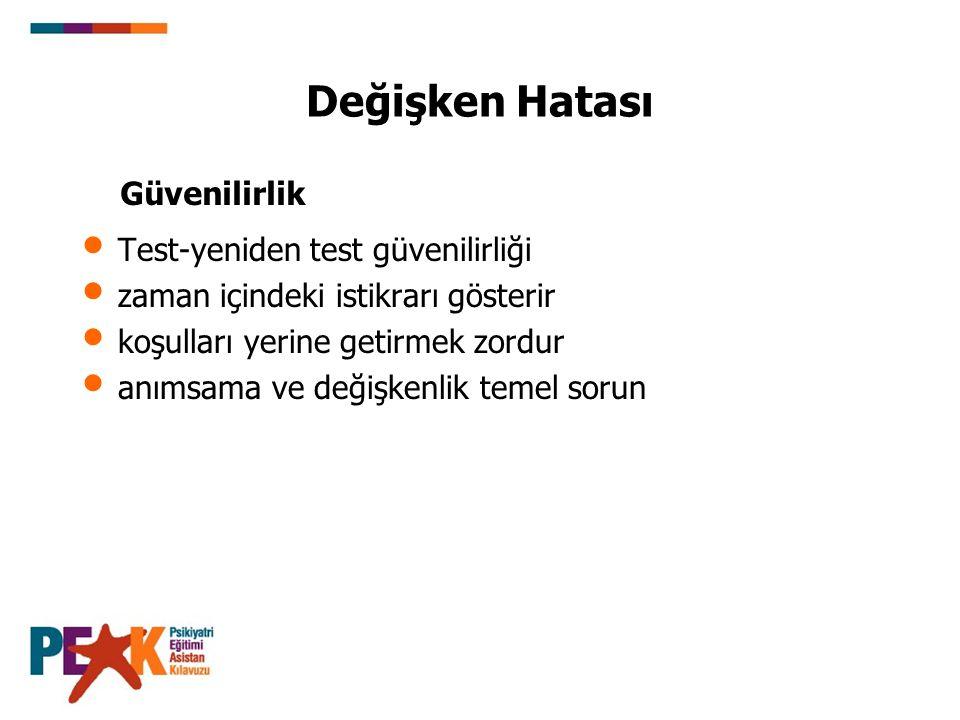 Değişken Hatası Test-yeniden test güvenilirliği zaman içindeki istikrarı gösterir koşulları yerine getirmek zordur anımsama ve değişkenlik temel sorun