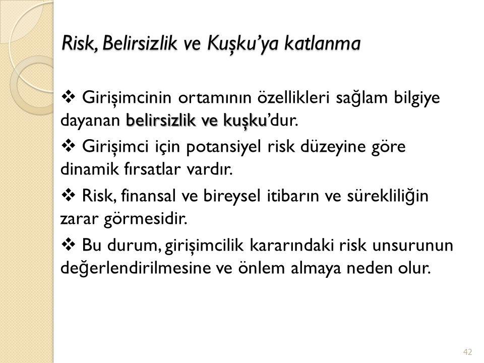 Risk, Belirsizlik ve Kuşku'ya katlanma 42 belirsizlik ve kuşku  Girişimcinin ortamının özellikleri sa ğ lam bilgiye dayanan belirsizlik ve kuşku'dur.