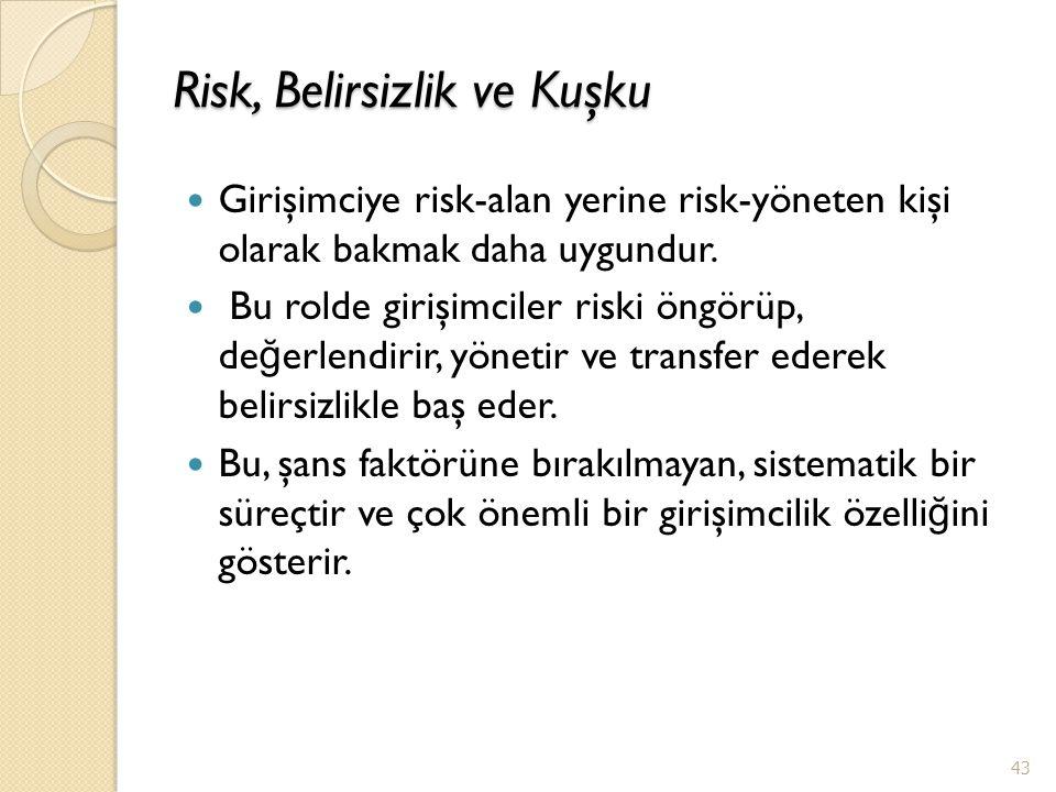Risk, Belirsizlik ve Kuşku Girişimciye risk-alan yerine risk-yöneten kişi olarak bakmak daha uygundur. Bu rolde girişimciler riski öngörüp, de ğ erlen
