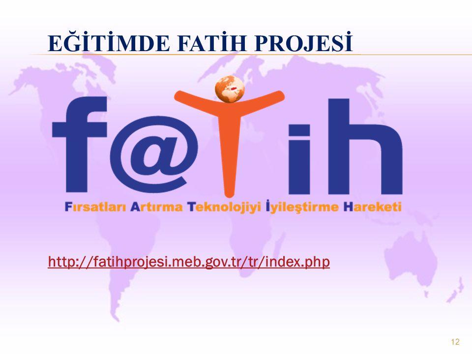 12 EĞİTİMDE FATİH PROJESİ http://fatihprojesi.meb.gov.tr/tr/index.php