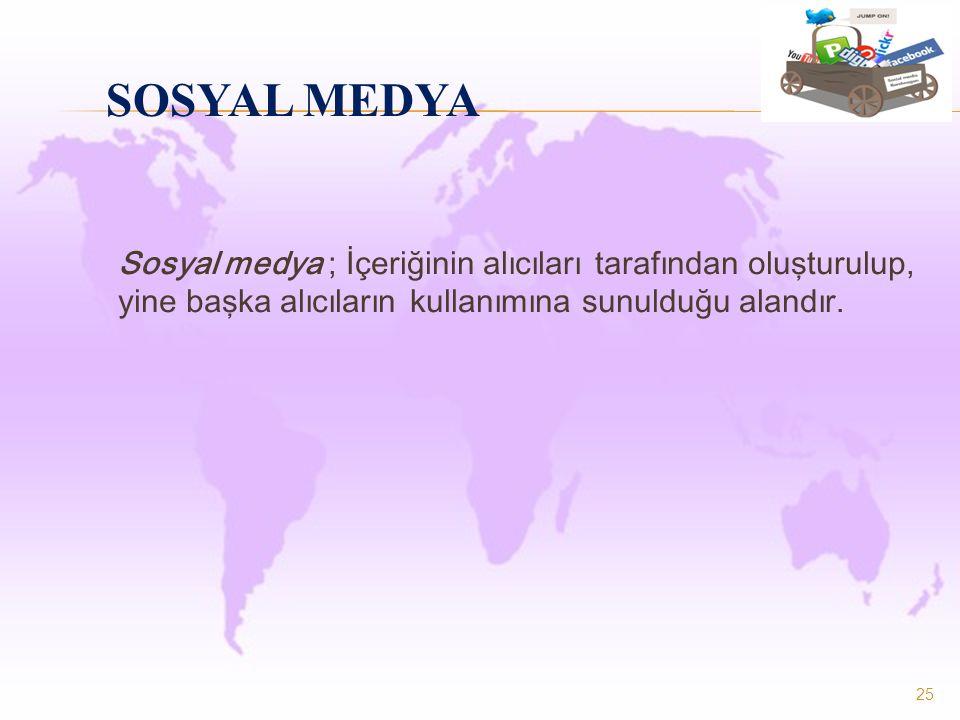 Sosyal medya ; İçeriğinin alıcıları tarafından oluşturulup, yine başka alıcıların kullanımına sunulduğu alandır. 25