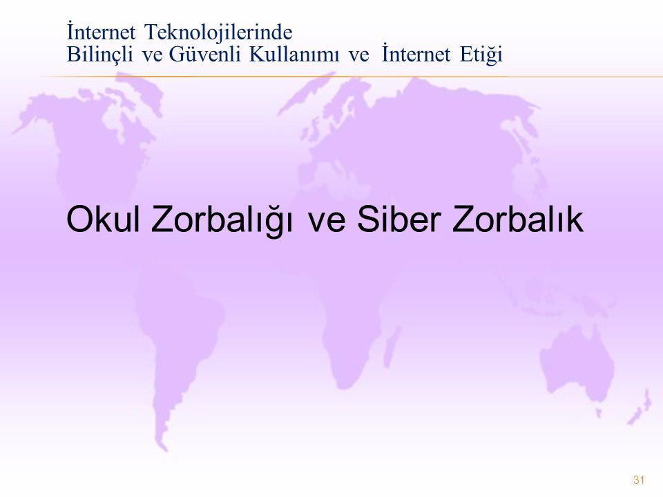 31 İnternet Teknolojilerinde Bilinçli ve Güvenli Kullanımı ve İnternet Etiği Okul Zorbalığı ve Siber Zorbalık