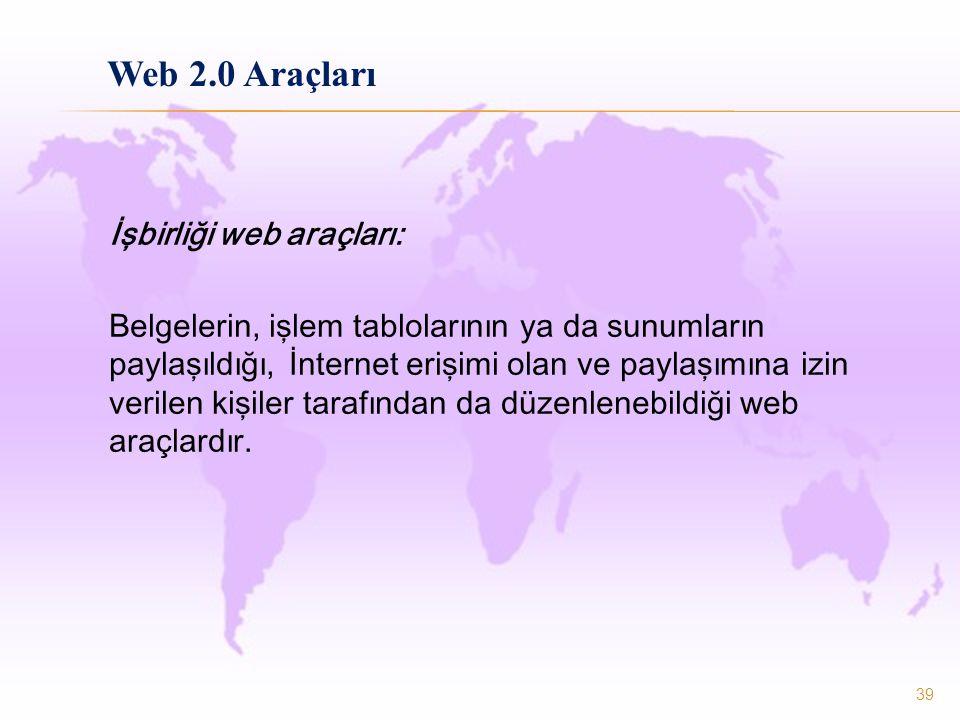 İşbirliği web araçları: Belgelerin, işlem tablolarının ya da sunumların paylaşıldığı, İnternet erişimi olan ve paylaşımına izin verilen kişiler tarafından da düzenlenebildiği web araçlardır.