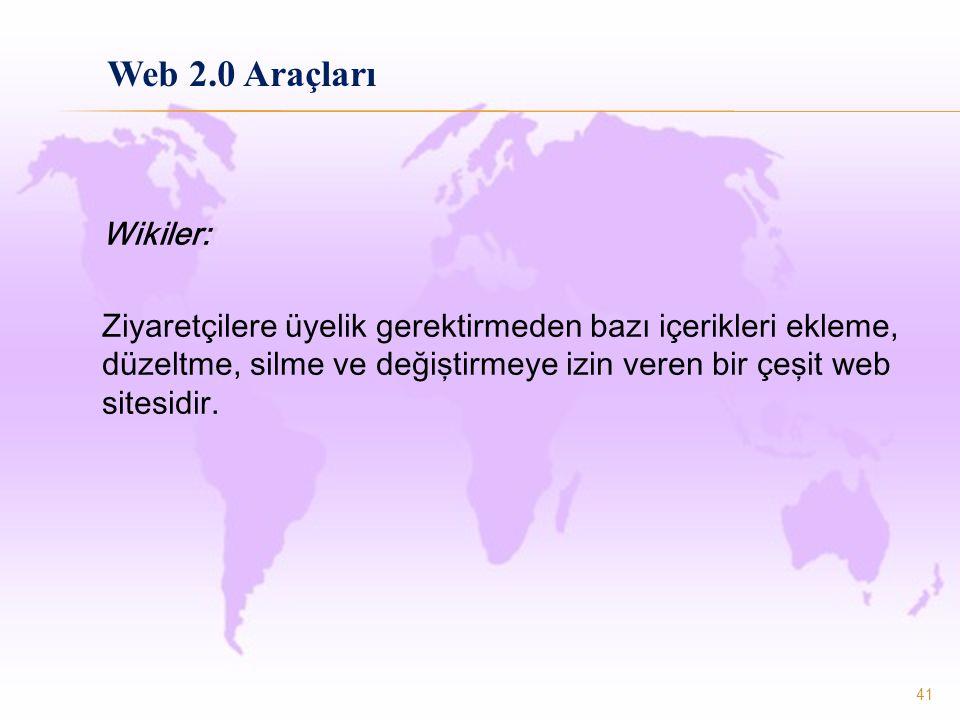 Wikiler: Ziyaretçilere üyelik gerektirmeden bazı içerikleri ekleme, düzeltme, silme ve değiştirmeye izin veren bir çeşit web sitesidir. 41 Web 2.0 Ara