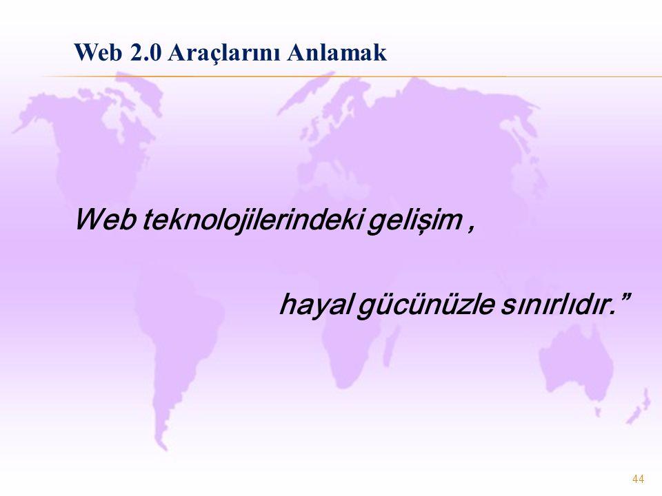 """44 Web teknolojilerindeki gelişim, hayal gücünüzle sınırlıdır."""" Web 2.0 Araçlarını Anlamak"""