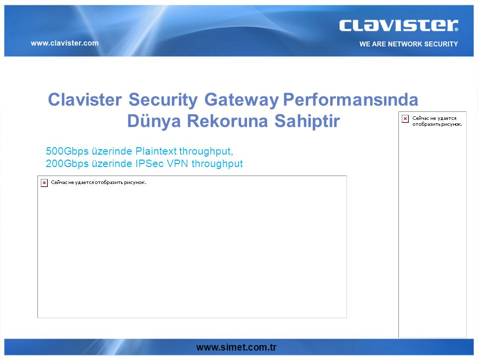 www.simet.com.tr Clavister Security Gateway Performansında Dünya Rekoruna Sahiptir 500Gbps üzerinde Plaintext throughput, 200Gbps üzerinde IPSec VPN throughput