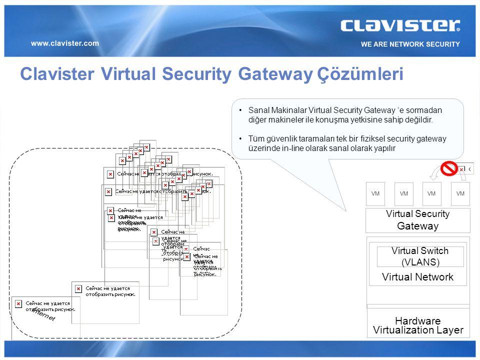 Clavister Virtual Security Gateway Çözümleri Sanal Makinalar Virtual Security Gateway 'e sormadan diğer makineler ile konuşma yetkisine sahip değildir.