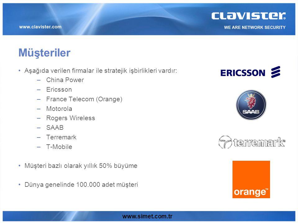 www.simet.com.tr Aşağıda verilen firmalar ile stratejik işbirlikleri vardır: –China Power –Ericsson –France Telecom (Orange) –Motorola –Rogers Wireless –SAAB –Terremark –T-Mobile Müşteri bazlı olarak yıllık 50% büyüme Dünya genelinde 100.000 adet müşteri Müşteriler