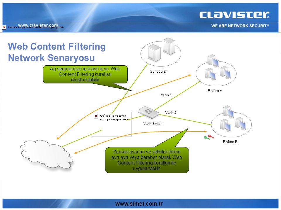 www.simet.com.tr Web Content Filtering Network Senaryosu Sunucular Bölüm A Bölüm B VLAN Switch VLAN 1 VLAN 2 Ağ segmentleri için ayrı aryrı Web Content Filtering kuralları oluşturulabilir Zaman ayarları ve yetkilendirme ayrı ayrı veya beraber olarak Web Content Filtering kuralları ile uygulanabilir.