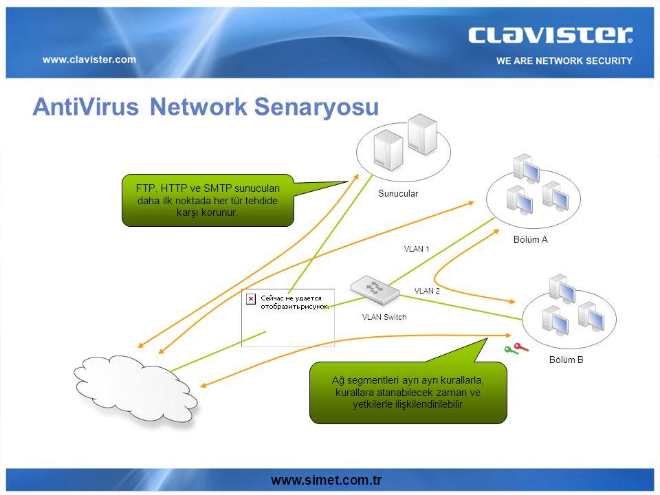 www.simet.com.tr AntiVirus Network Senaryosu Sunucular Bölüm A Bölüm B VLAN Switch VLAN 1 VLAN 2 FTP, HTTP ve SMTP sunucuları daha ilk noktada her tür tehdide karşı korunur.