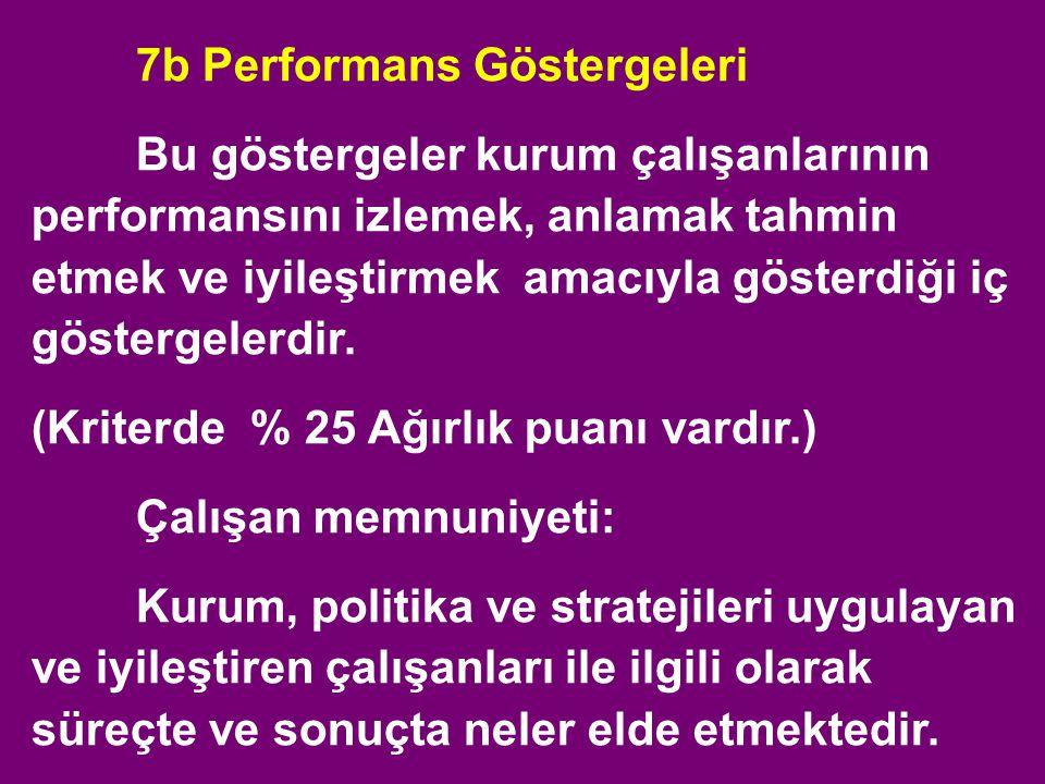 7b Performans Göstergeleri Bu göstergeler kurum çalışanlarının performansını izlemek, anlamak tahmin etmek ve iyileştirmek amacıyla gösterdiği iç göst