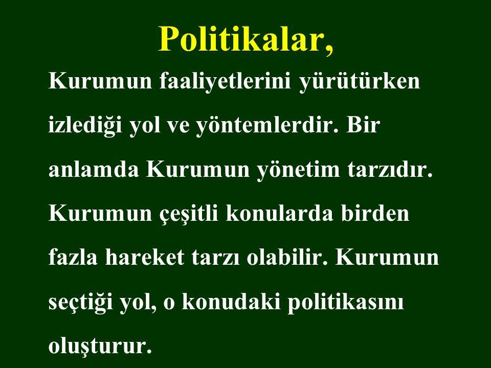 Politikalar, Kurumun faaliyetlerini yürütürken izlediği yol ve yöntemlerdir. Bir anlamda Kurumun yönetim tarzıdır. Kurumun çeşitli konularda birden fa