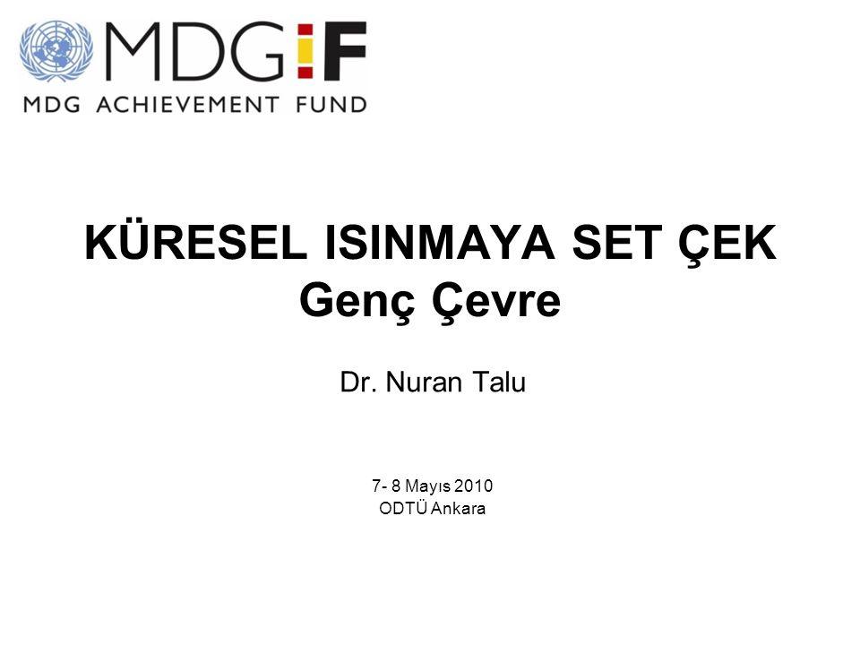 KÜRESEL ISINMAYA SET ÇEK Genç Çevre Dr. Nuran Talu 7- 8 Mayıs 2010 ODTÜ Ankara