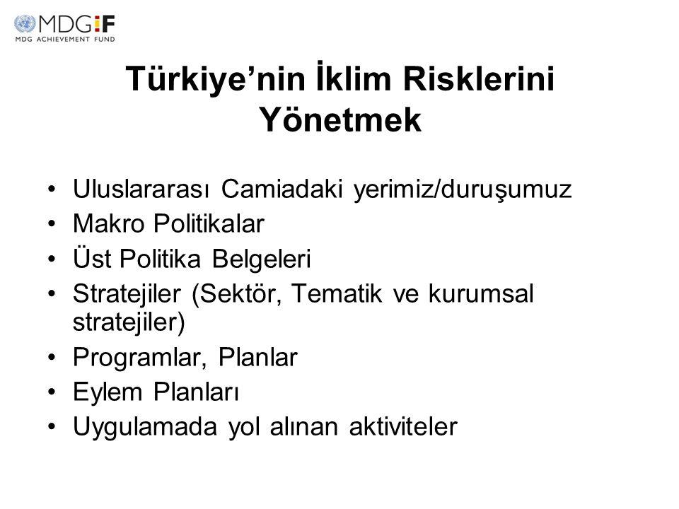 Türkiye'nin İklim Risklerini Yönetmek Uluslararası Camiadaki yerimiz/duruşumuz Makro Politikalar Üst Politika Belgeleri Stratejiler (Sektör, Tematik v