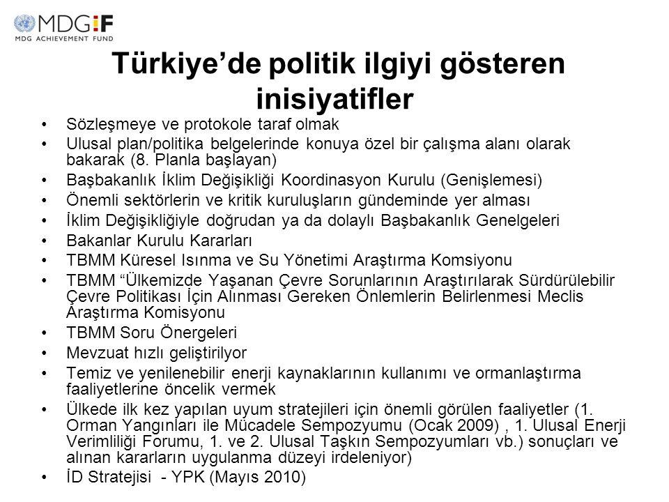 Türkiye'de politik ilgiyi gösteren inisiyatifler Sözleşmeye ve protokole taraf olmak Ulusal plan/politika belgelerinde konuya özel bir çalışma alanı o
