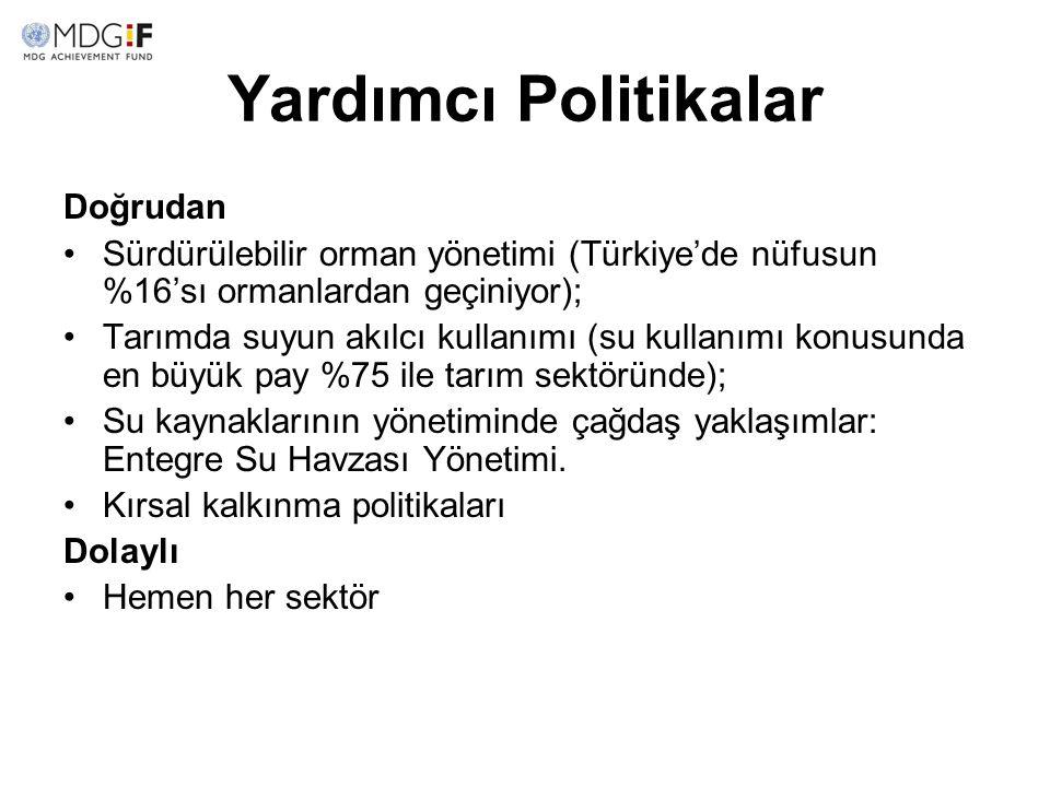 Yardımcı Politikalar Doğrudan Sürdürülebilir orman yönetimi (Türkiye'de nüfusun %16'sı ormanlardan geçiniyor); Tarımda suyun akılcı kullanımı (su kull