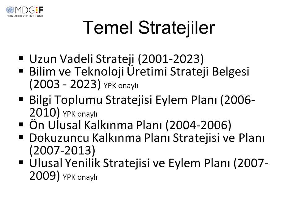 Temel Stratejiler  Uzun Vadeli Strateji (2001-2023)  Bilim ve Teknoloji Üretimi Strateji Belgesi (2003 - 2023) YPK onaylı  Bilgi Toplumu Stratejisi