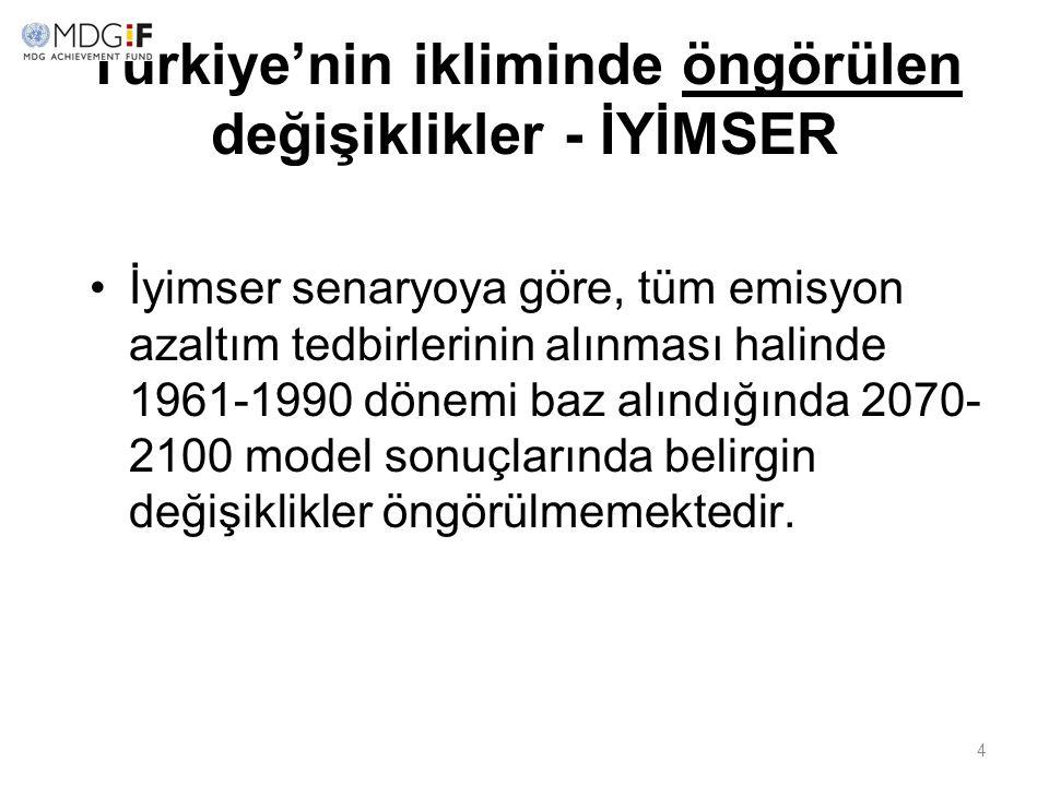 4 Türkiye'nin ikliminde öngörülen değişiklikler - İYİMSER İyimser senaryoya göre, tüm emisyon azaltım tedbirlerinin alınması halinde 1961-1990 dönemi
