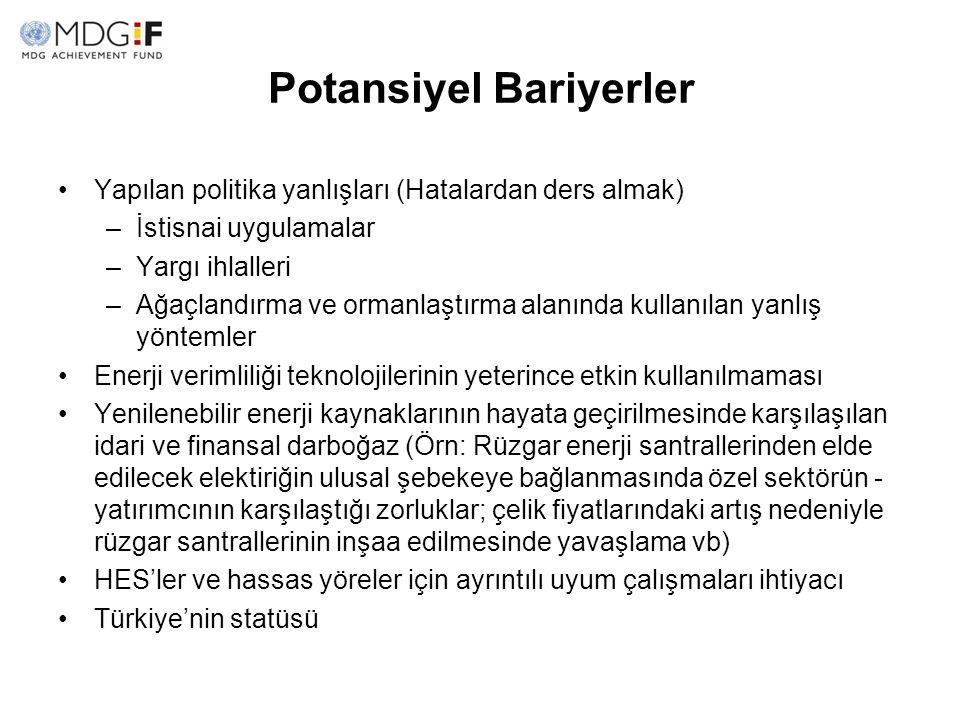Potansiyel Bariyerler Yapılan politika yanlışları (Hatalardan ders almak) –İstisnai uygulamalar –Yargı ihlalleri –Ağaçlandırma ve ormanlaştırma alanın