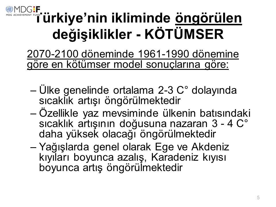 5 Türkiye'nin ikliminde öngörülen değişiklikler - KÖTÜMSER 2070-2100 döneminde 1961-1990 dönemine göre en kötümser model sonuçlarına göre: –Ülke genel