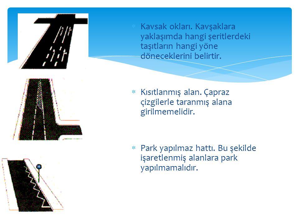 KK avsak okları. Kavşaklara yaklaşımda hangi şeritlerdeki taşıtların hangi yöne döneceklerini belirtir. KK ısıtlanmış alan. Çapraz çizgilerle tara