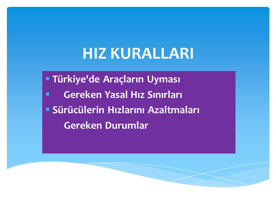 HIZ KURALLARI  Türkiye'de Araçların Uyması  Gereken Yasal Hız Sınırları  Sürücülerin Hızlarını Azaltmaları Gereken Durumlar