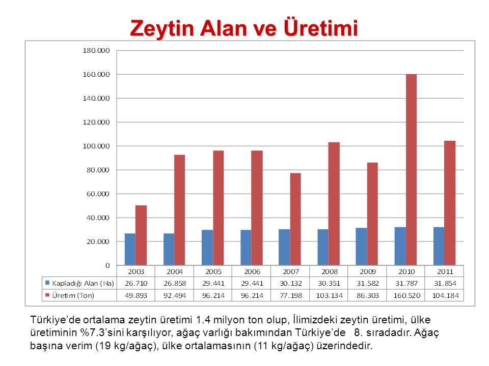 Zeytin Alan ve Üretimi Türkiye'de ortalama zeytin üretimi 1.4 milyon ton olup, İlimizdeki zeytin üretimi, ülke üretiminin %7.3'sini karşılıyor, ağaç v