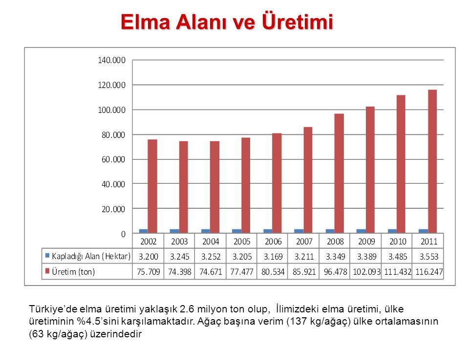 Elma Alanı ve Üretimi Türkiye'de elma üretimi yaklaşık 2.6 milyon ton olup, İlimizdeki elma üretimi, ülke üretiminin %4.5'sini karşılamaktadır. Ağaç b