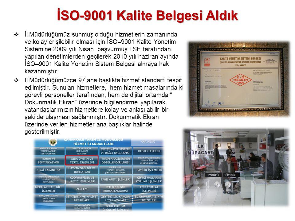İSO-9001 Kalite Belgesi Aldık  İl Müdürlüğümüz sunmuş olduğu hizmetlerin zamanında ve kolay erişilebilir olması için İSO–9001 Kalite Yönetim Sistemin