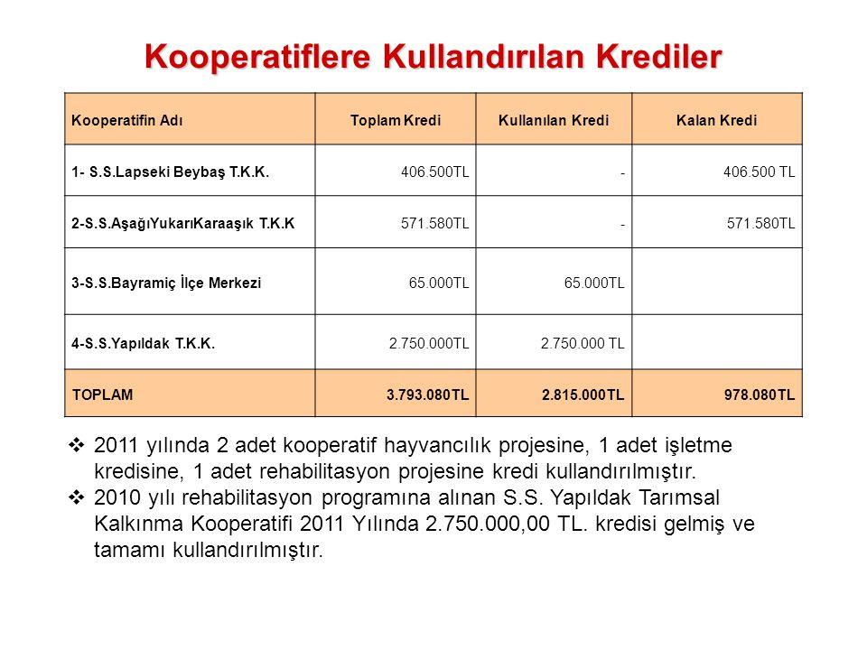 Kooperatiflere Kullandırılan Krediler Kooperatifin AdıToplam KrediKullanılan KrediKalan Kredi 1- S.S.Lapseki Beybaş T.K.K.406.500TL- 2-S.S.AşağıYukarı