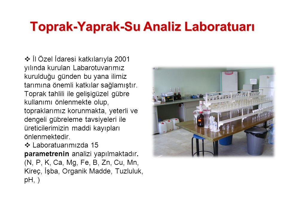 Toprak-Yaprak-Su Analiz Laboratuarı  İl Özel İdaresi katkılarıyla 2001 yılında kurulan Labarotuvarımız kurulduğu günden bu yana ilimiz tarımına öneml