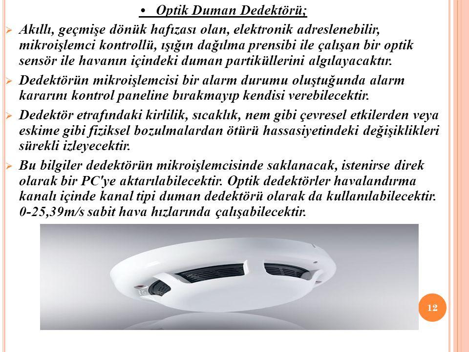Optik Duman Dedektörü;  Akıllı, geçmişe dönük hafızası olan, elektronik adreslenebilir, mikroişlemci kontrollü, ışığın dağılma prensibi ile çalışan bir optik sensör ile havanın içindeki duman partiküllerini algılayacaktır.