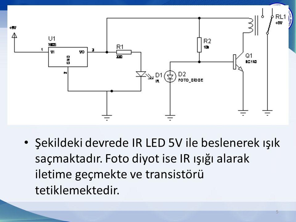 5 Şekildeki devrede IR LED 5V ile beslenerek ışık saçmaktadır.