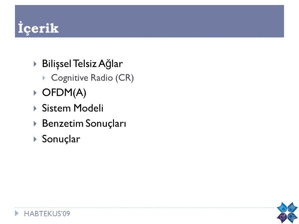 HABTEKUS'09 İçerik  Bilişsel Telsiz A ğ lar  Cognitive Radio (CR)  OFDM(A)  Sistem Modeli  Benzetim Sonuçları  Sonuçlar