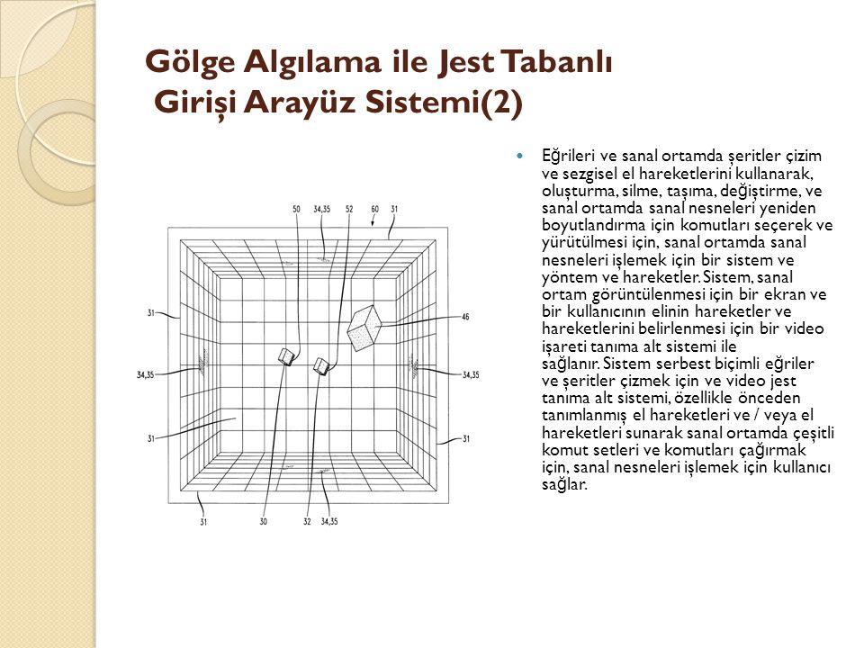 Gölge Algılama ile Jest Tabanlı Girişi Arayüz Sistemi(2) E ğ rileri ve sanal ortamda şeritler çizim ve sezgisel el hareketlerini kullanarak, oluşturma