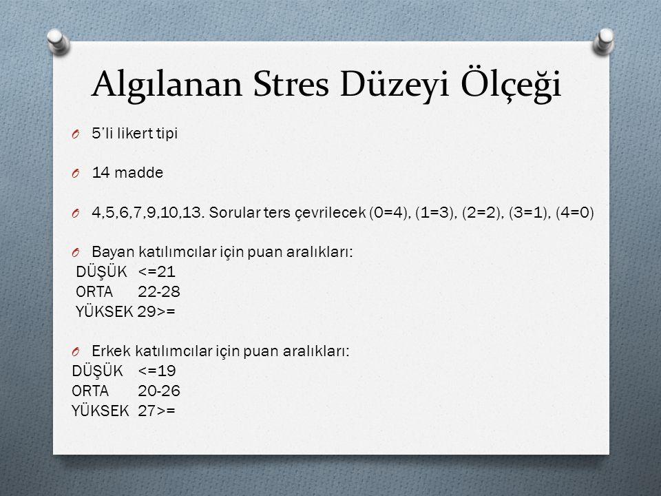 Algılanan Stres Düzeyi Ölçeği O 5'li likert tipi O 14 madde O 4,5,6,7,9,10,13. Sorular ters çevrilecek (0=4), (1=3), (2=2), (3=1), (4=0) O Bayan katıl