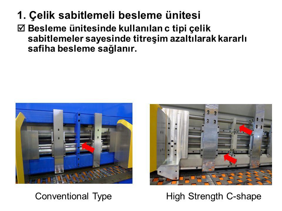 1. Çelik sabitlemeli besleme ünitesi  Besleme ünitesinde kullanılan c tipi çelik sabitlemeler sayesinde titreşim azaltılarak kararlı safiha besleme s