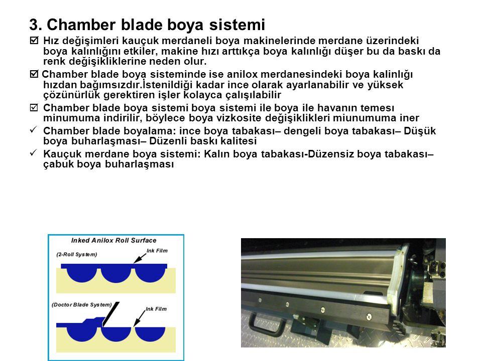 3. Chamber blade boya sistemi  Hız değişimleri kauçuk merdaneli boya makinelerinde merdane üzerindeki boya kalınlığını etkiler, makine hızı arttıkça