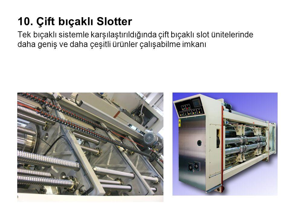 10. Çift bıçaklı Slotter Tek bıçaklı sistemle karşılaştırıldığında çift bıçaklı slot ünitelerinde daha geniş ve daha çeşitli ürünler çalışabilme imkan