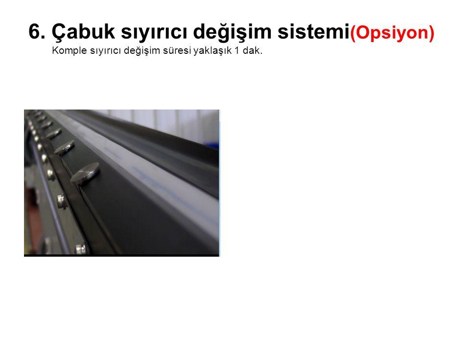 6. Çabuk sıyırıcı değişim sistemi (Opsiyon) Komple sıyırıcı değişim süresi yaklaşık 1 dak.