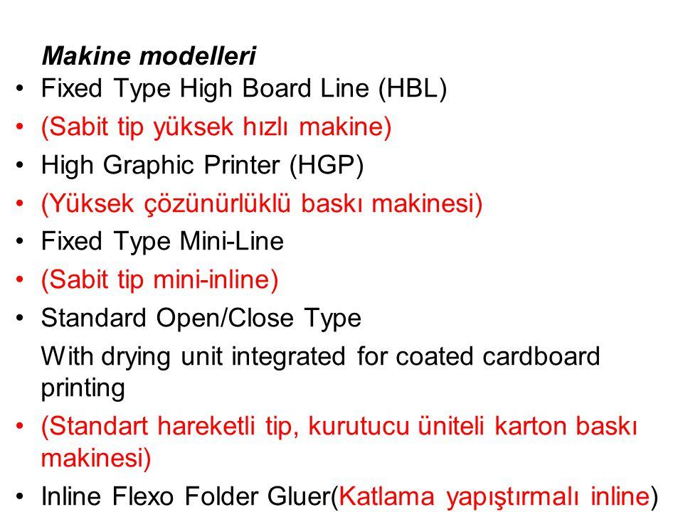 Makine modelleri Fixed Type High Board Line (HBL) (Sabit tip yüksek hızlı makine) High Graphic Printer (HGP) (Yüksek çözünürlüklü baskı makinesi) Fixed Type Mini-Line (Sabit tip mini-inline) Standard Open/Close Type With drying unit integrated for coated cardboard printing (Standart hareketli tip, kurutucu üniteli karton baskı makinesi) Inline Flexo Folder Gluer(Katlama yapıştırmalı inline)