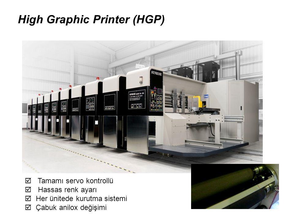 High Graphic Printer (HGP)  Tamamı servo kontrollü  Hassas renk ayarı  Her ünitede kurutma sistemi  Çabuk anilox değişimi