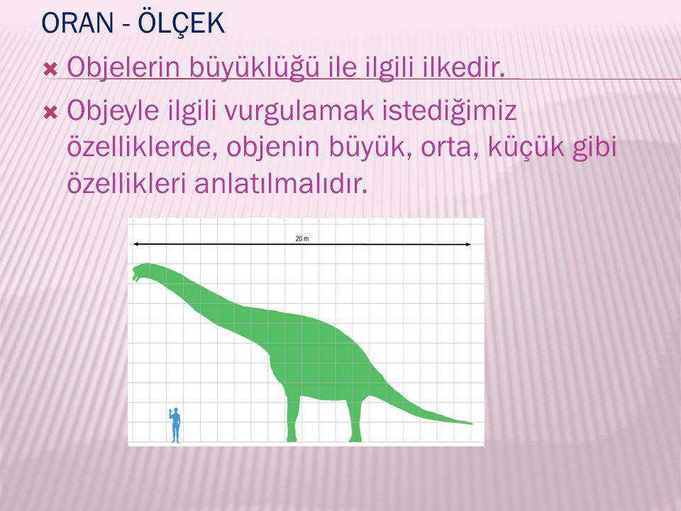 ORAN - ÖLÇEK  Objelerin büyüklüğü ile ilgili ilkedir.  Objeyle ilgili vurgulamak istediğimiz özelliklerde, objenin büyük, orta, küçük gibi özellikle