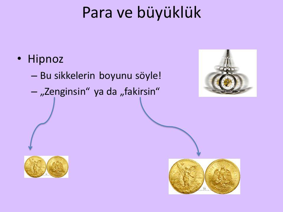 """Para ve büyüklük Hipnoz – Bu sikkelerin boyunu söyle! – """"Zenginsin ya da """"fakirsin"""