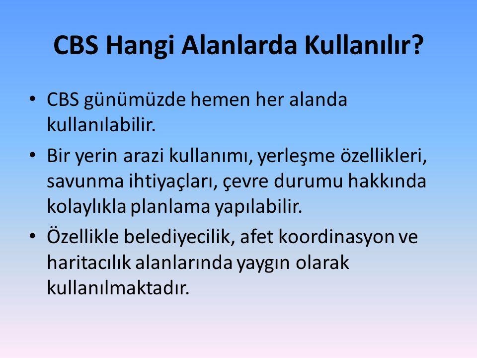 CBS Hangi Alanlarda Kullanılır.CBS günümüzde hemen her alanda kullanılabilir.