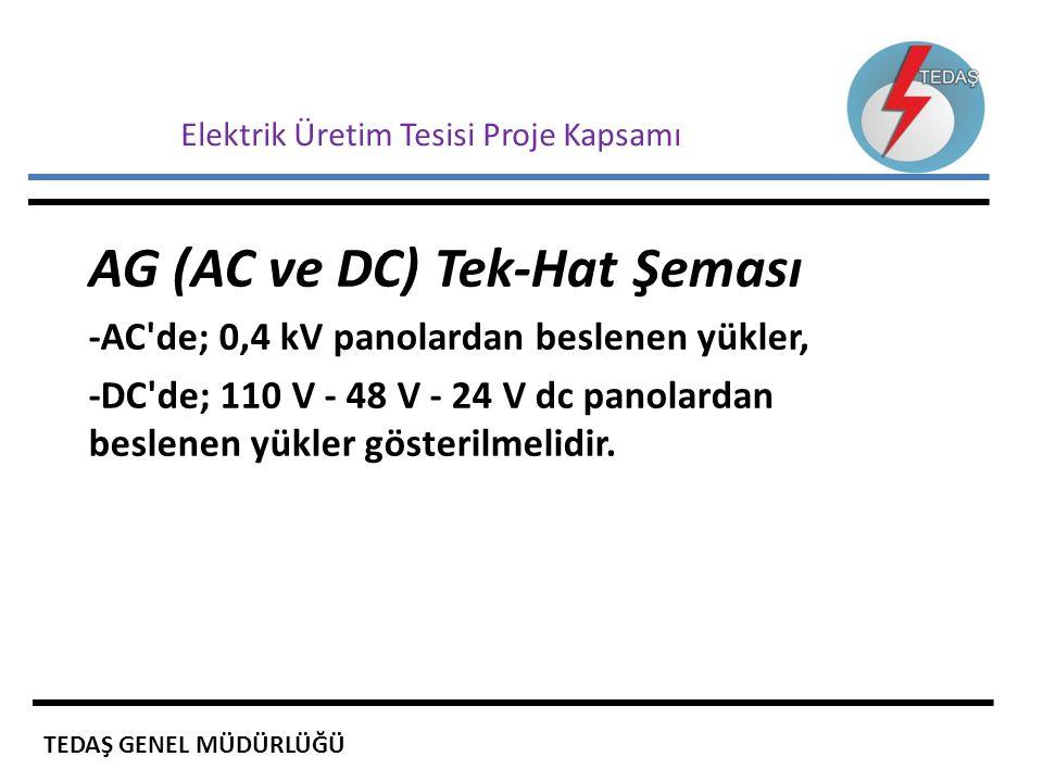 Elektrik Üretim Tesisi Proje Kapsamı AG (AC ve DC) Tek-Hat Şeması -AC'de; 0,4 kV panolardan beslenen yükler, -DC'de; 110 V - 48 V - 24 V dc panolardan
