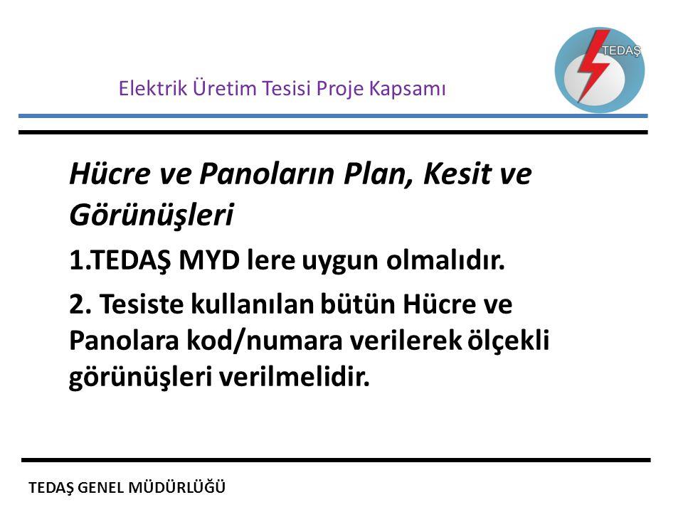 Elektrik Üretim Tesisi Proje Kapsamı Hücre ve Panoların Plan, Kesit ve Görünüşleri 1.TEDAŞ MYD lere uygun olmalıdır. 2. Tesiste kullanılan bütün Hücre